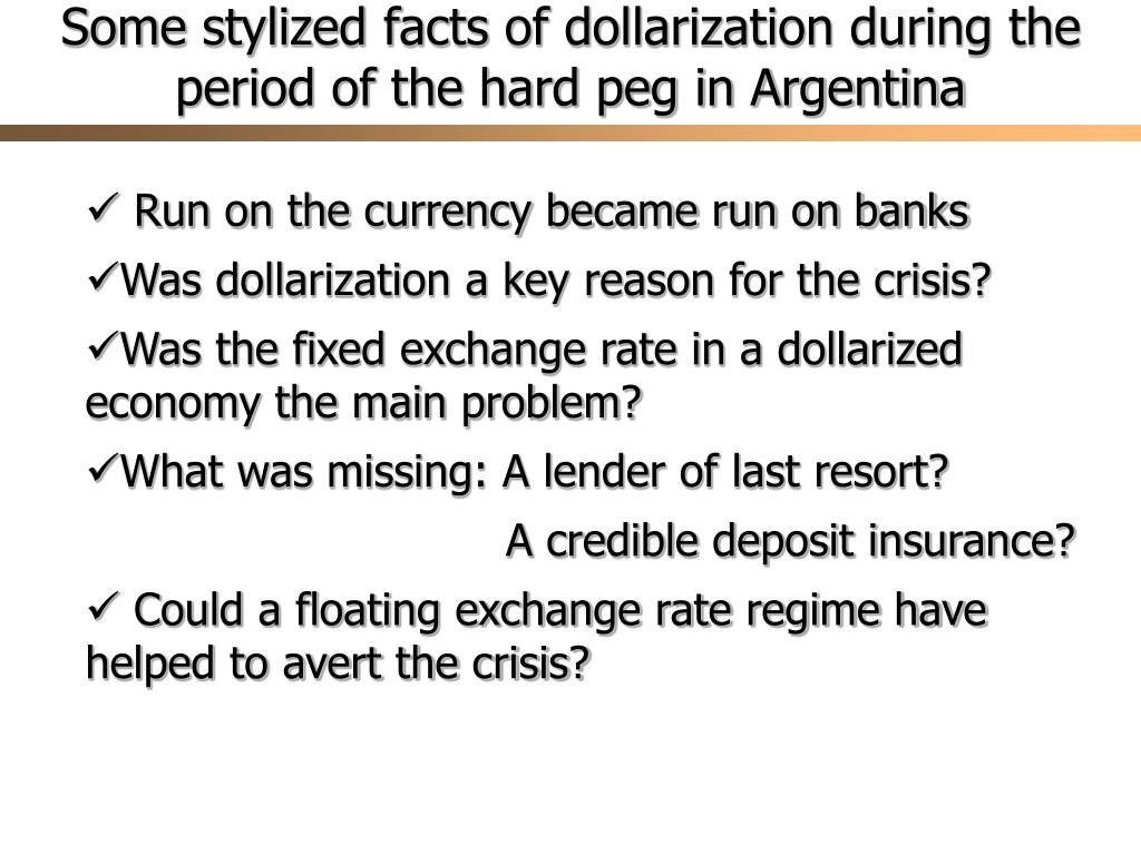 Some stylized facts of dollarization during the period of the hard peg in Argentina