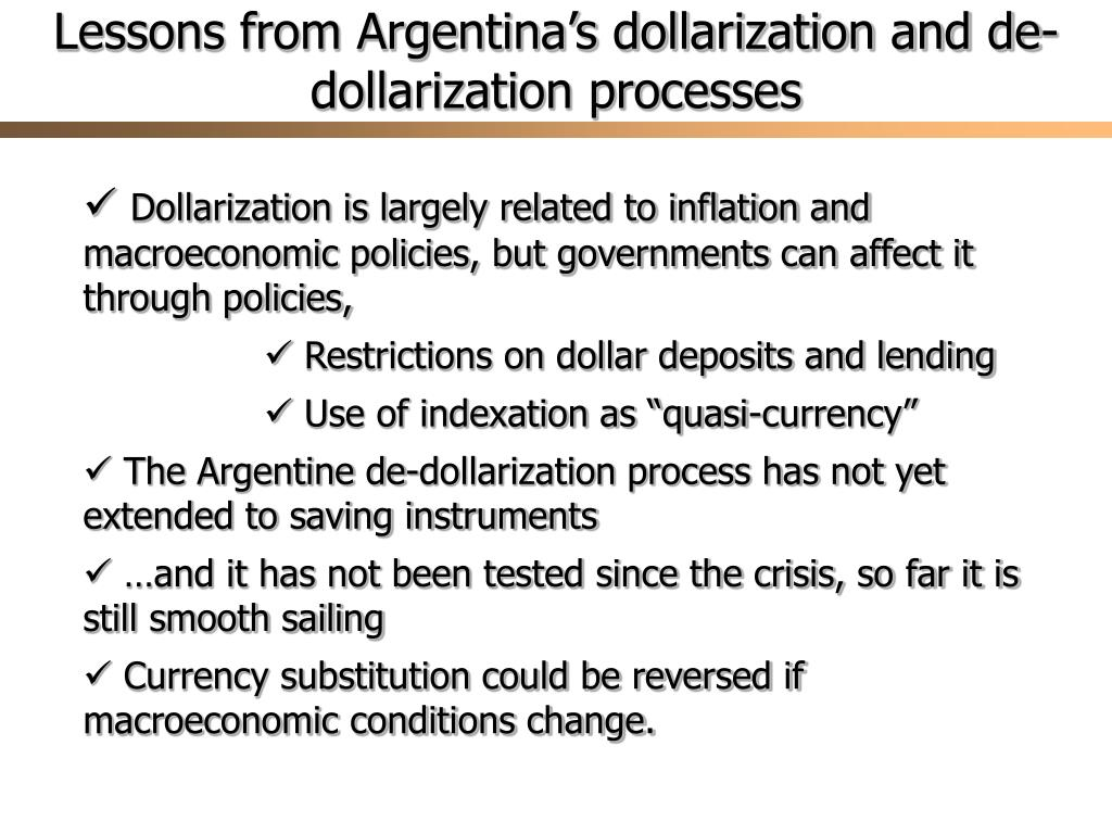 Lessons from Argentina's dollarization and de-dollarization processes