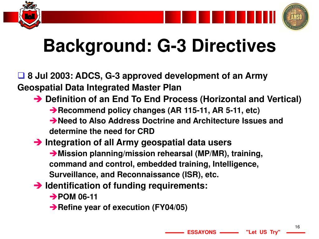 Background: G-3 Directives