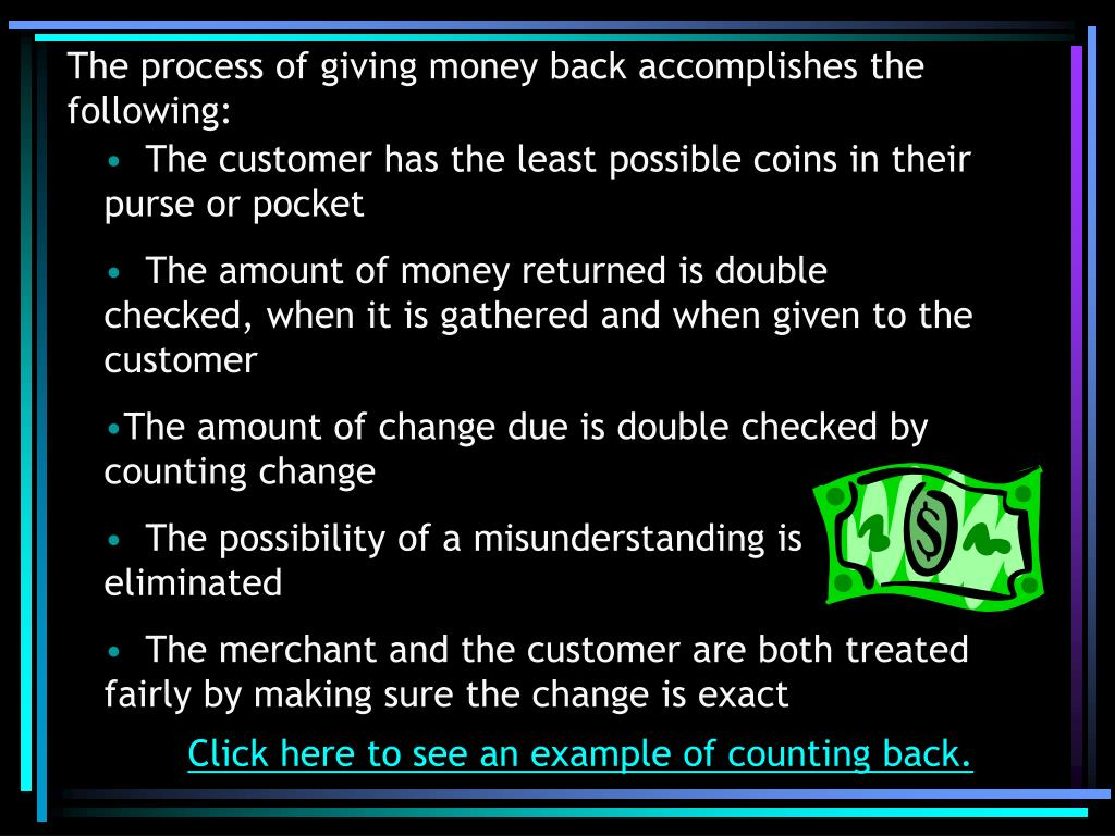 The process of giving money back accomplishes the following:
