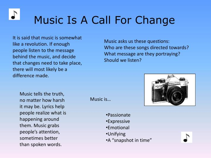 Music Is A Call For Change