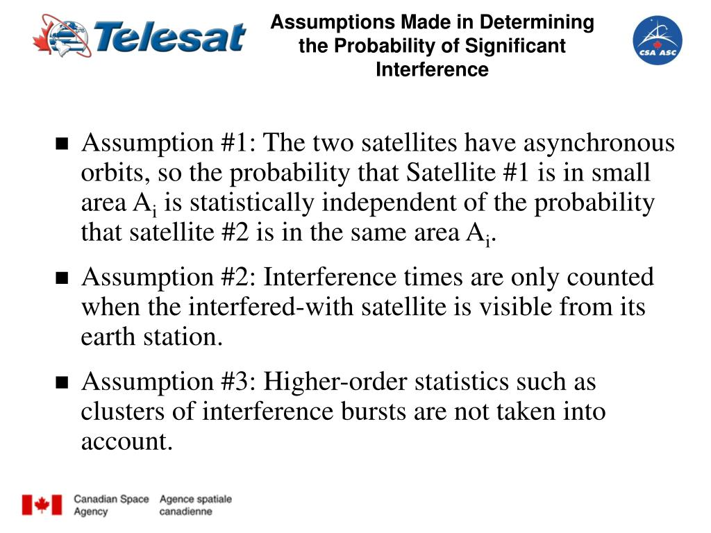 Assumptions Made in Determining the Probability of Significant Interference
