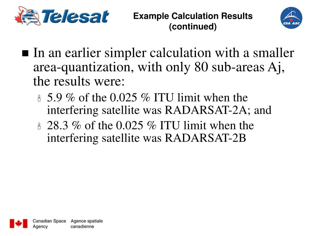 Example Calculation Results (continued)
