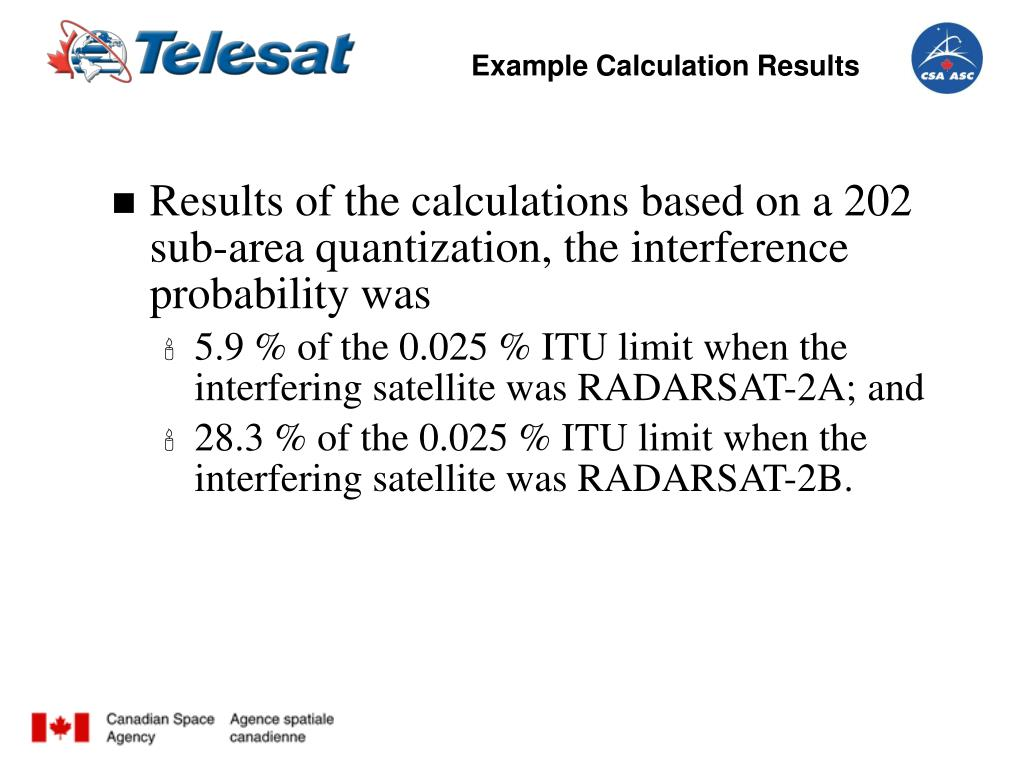 Example Calculation Results