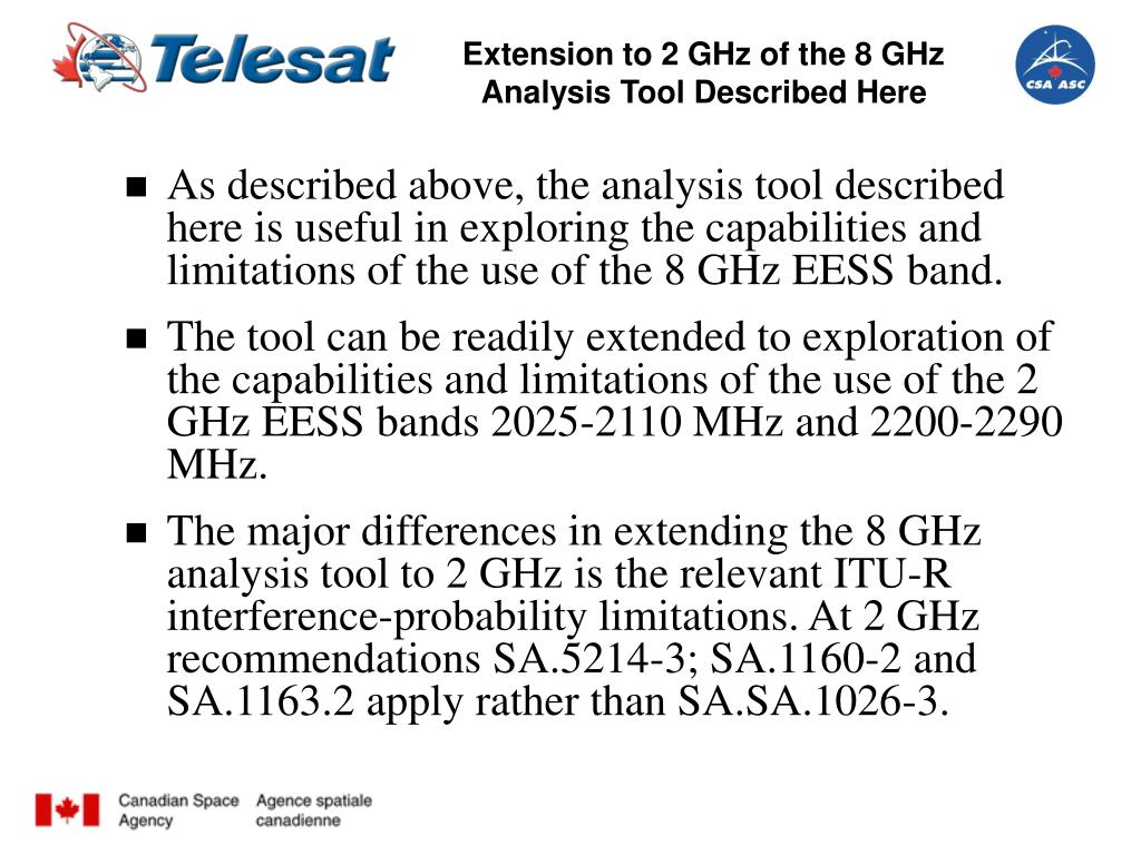 Extension to 2 GHz of the 8 GHz