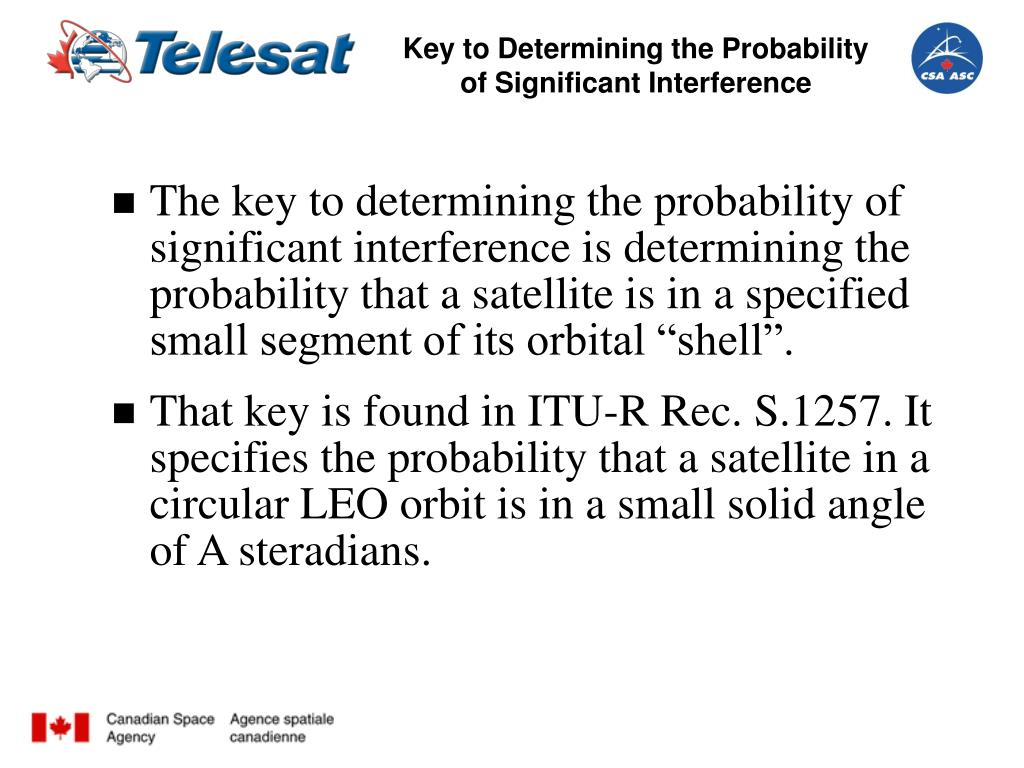 Key to Determining the Probability of Significant Interference