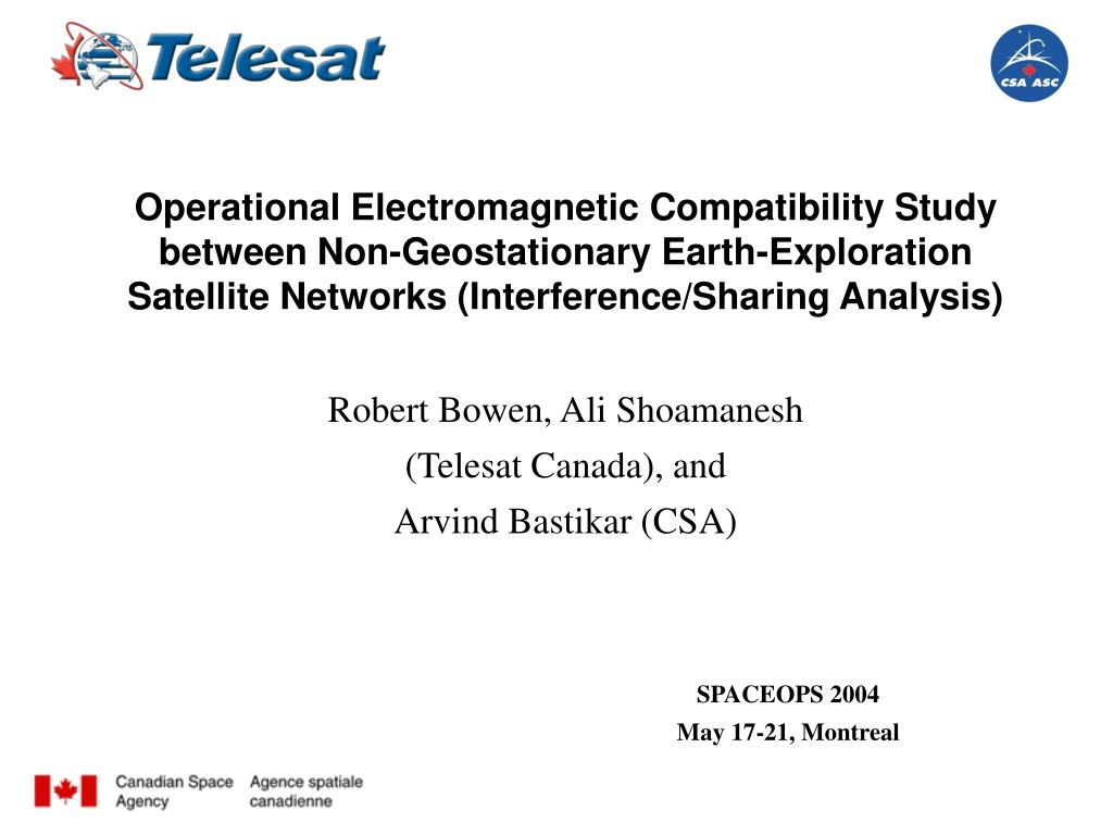 Operational Electromagnetic Compatibility Study between Non-Geostationary Earth-Exploration Satellite Networks (Interference/Sharing Analysis)