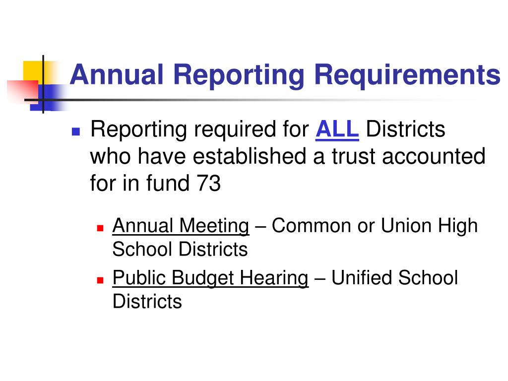 Annual Reporting Requirements