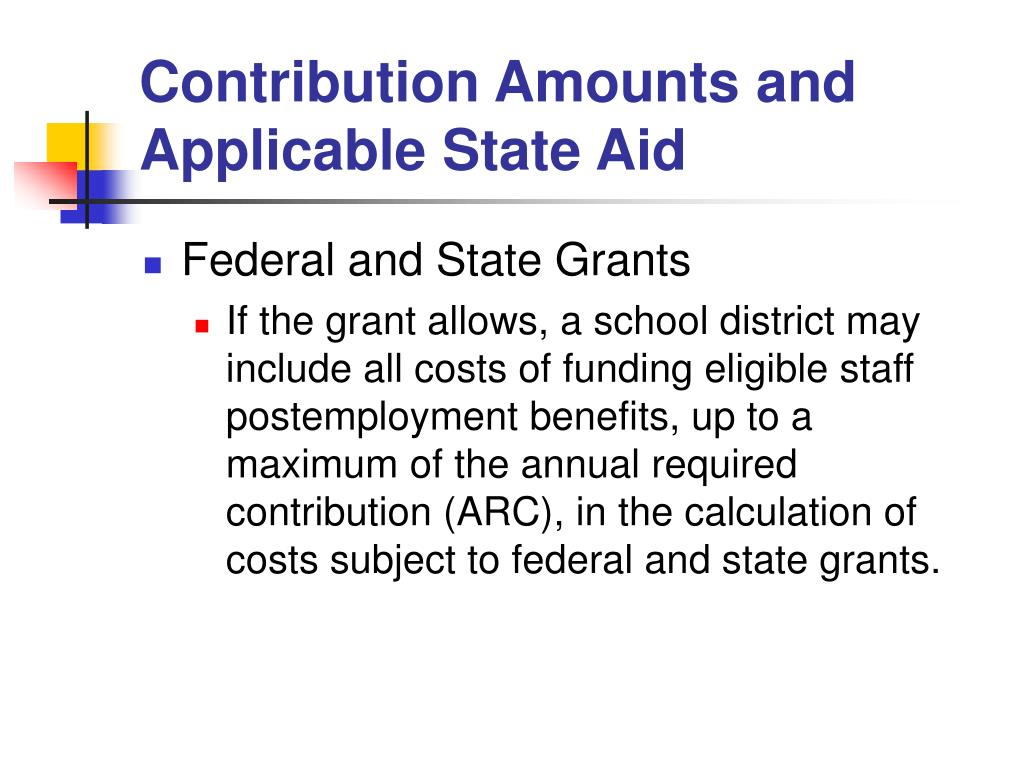Contribution Amounts and Applicable State Aid