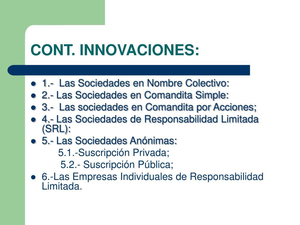 CONT. INNOVACIONES: