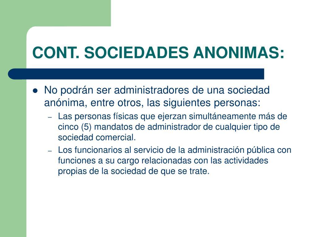 CONT. SOCIEDADES ANONIMAS: