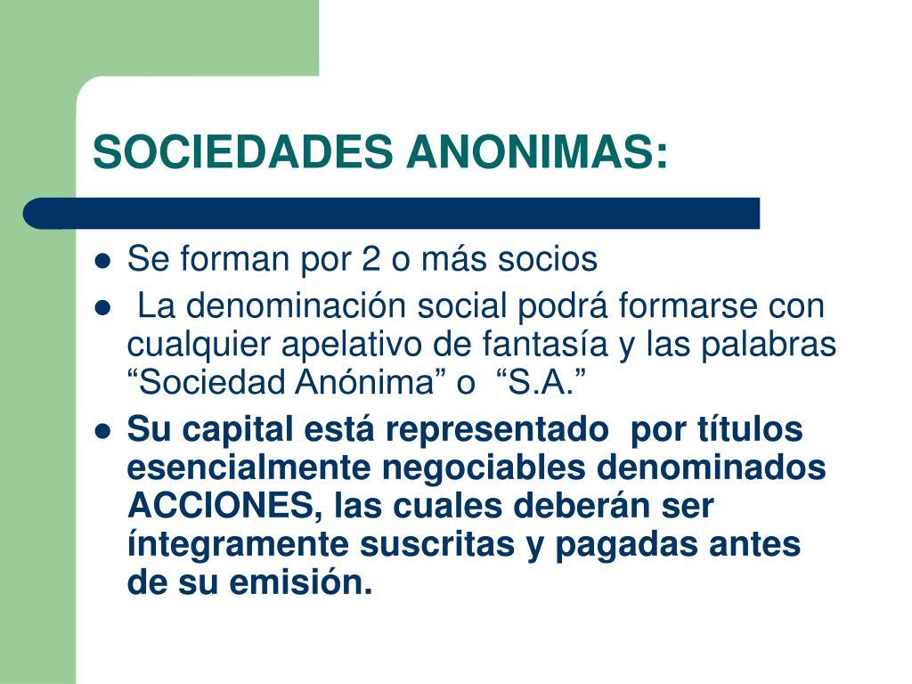 SOCIEDADES ANONIMAS: