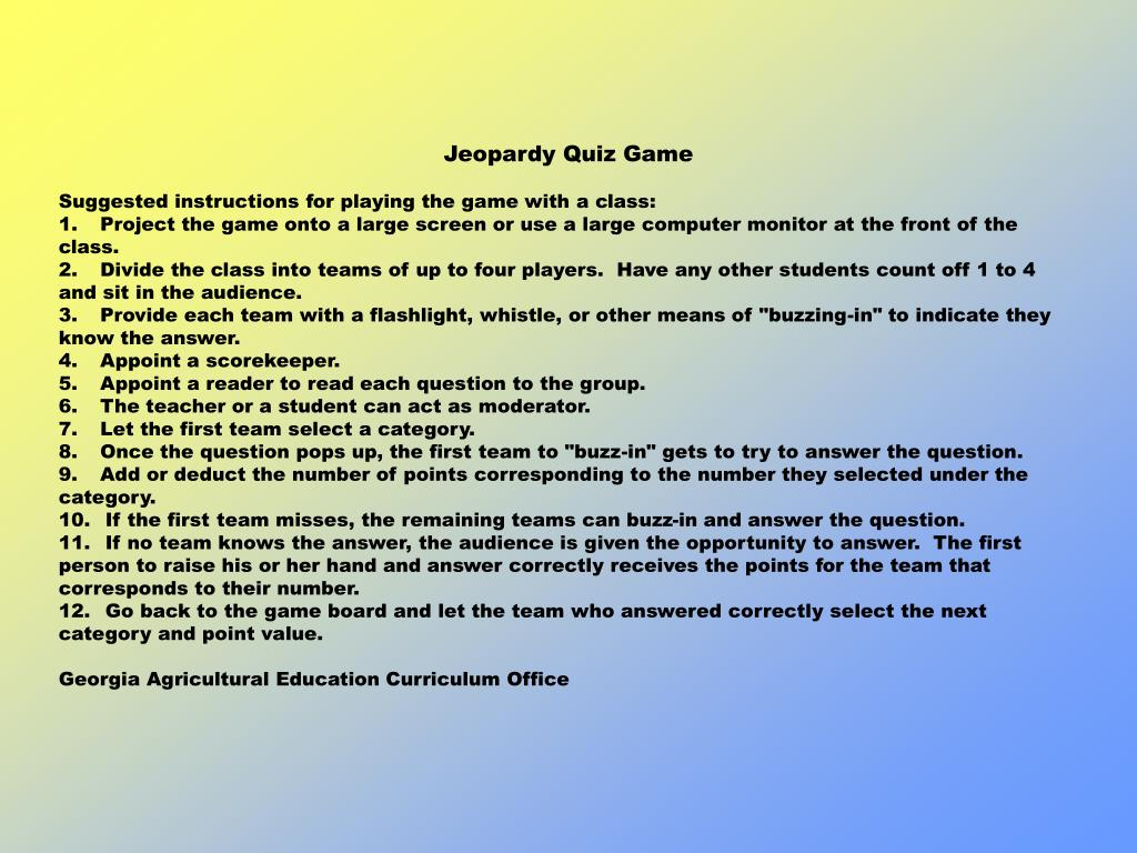 Jeopardy Quiz Game