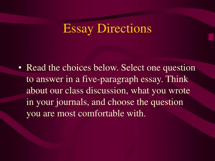 Essay Directions