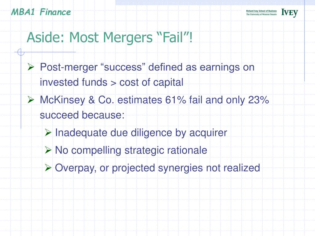 """Aside: Most Mergers """"Fail""""!"""