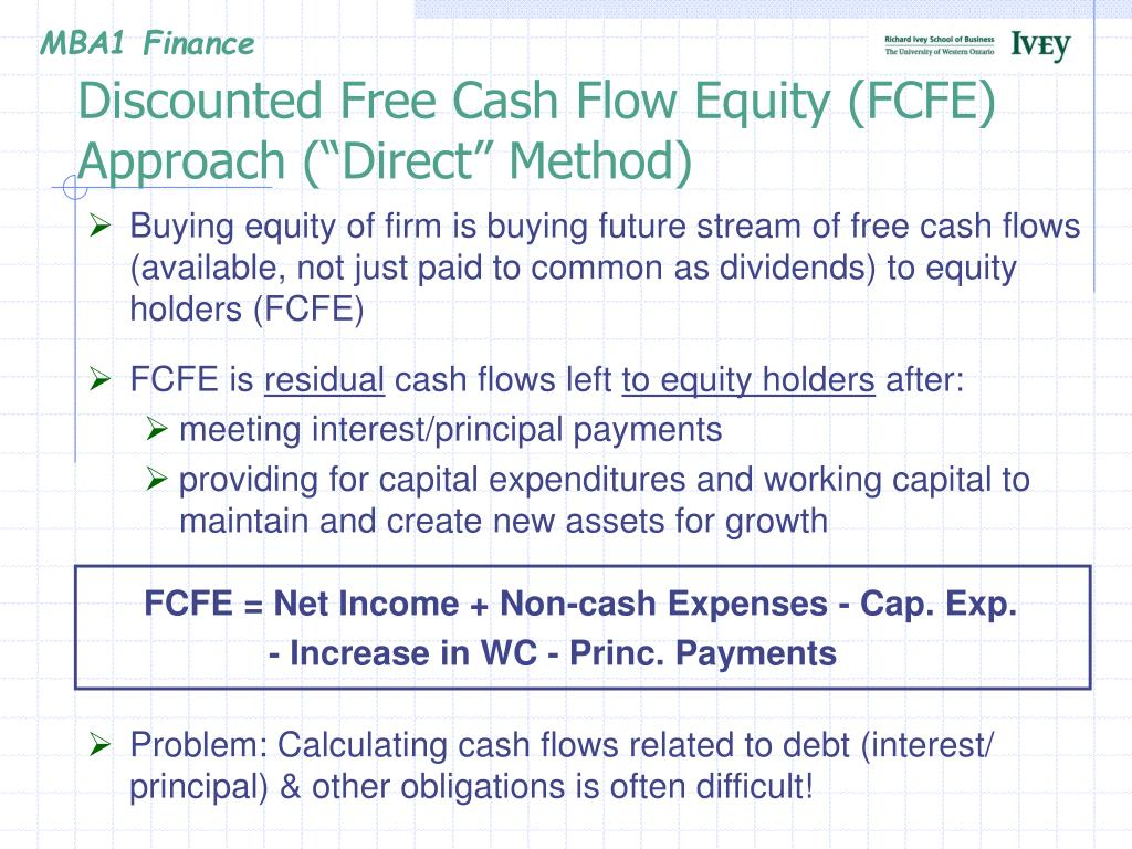"""Discounted Free Cash Flow Equity (FCFE) Approach (""""Direct"""" Method)"""