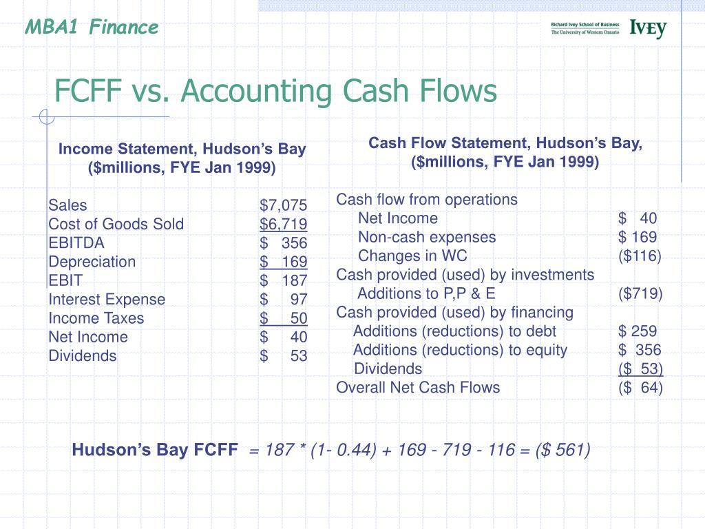 FCFF vs. Accounting Cash Flows