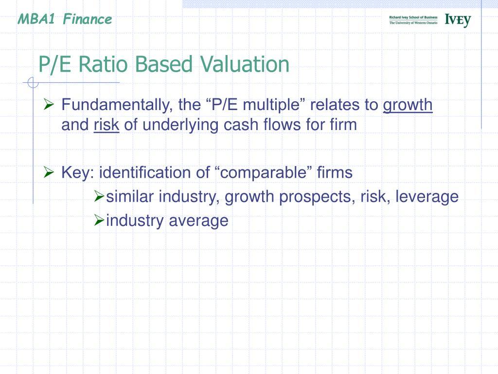 P/E Ratio Based Valuation