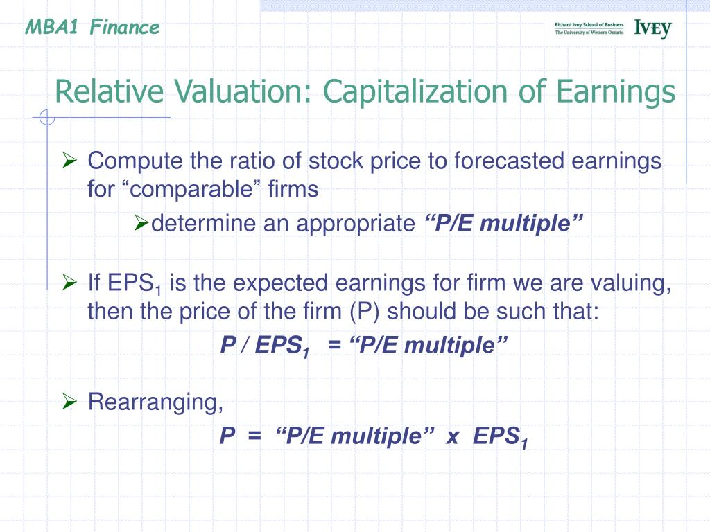 Relative Valuation: Capitalization of Earnings