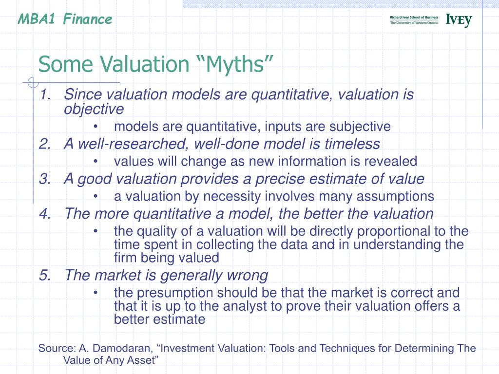 """Some Valuation """"Myths"""""""