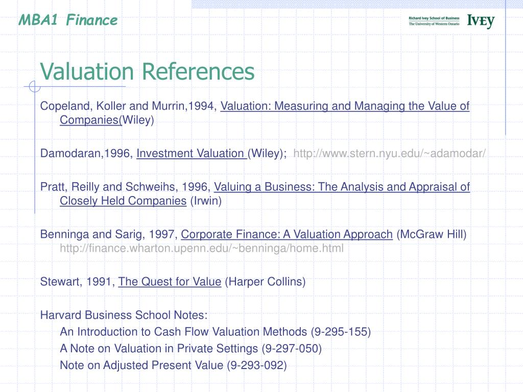 Valuation References