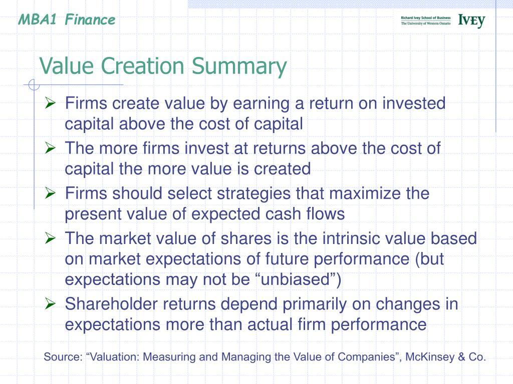 Value Creation Summary