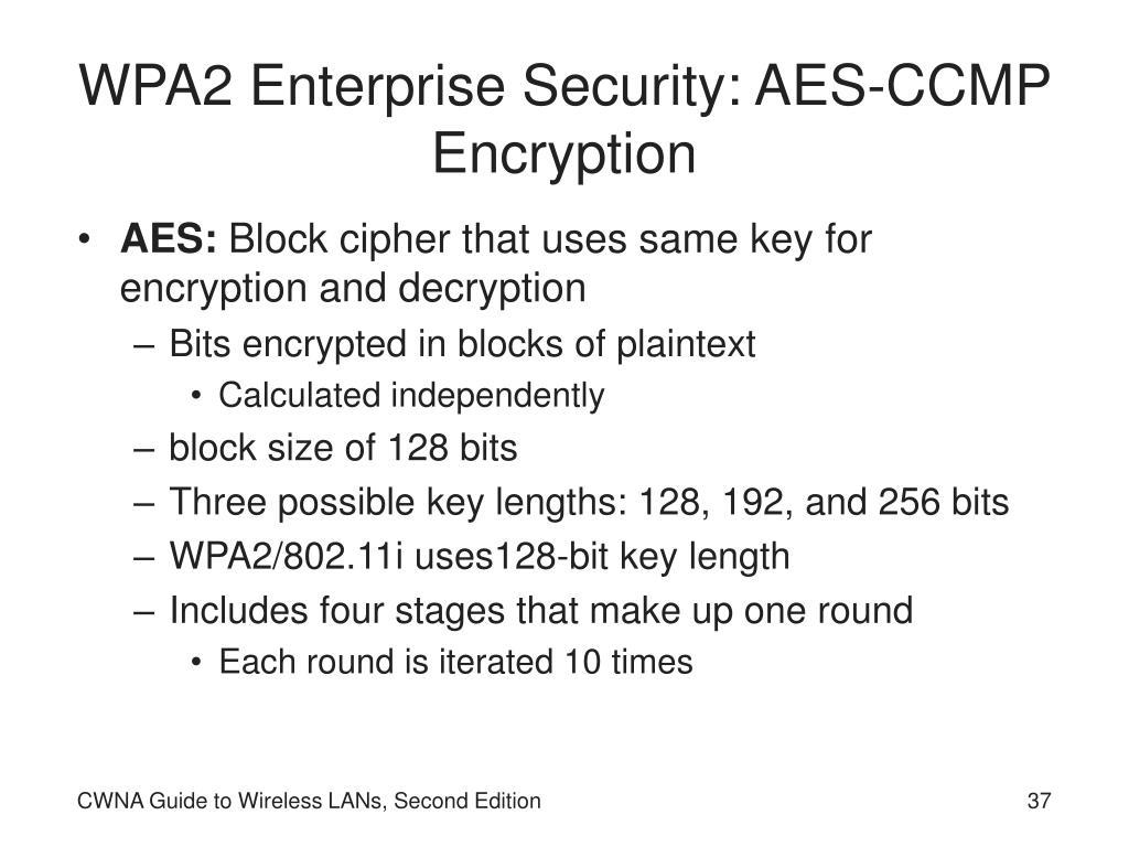 WPA2 Enterprise Security: AES-CCMP Encryption