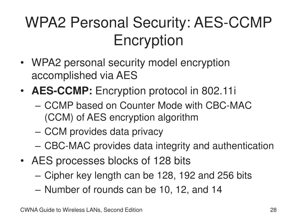 WPA2 Personal Security: AES-CCMP Encryption