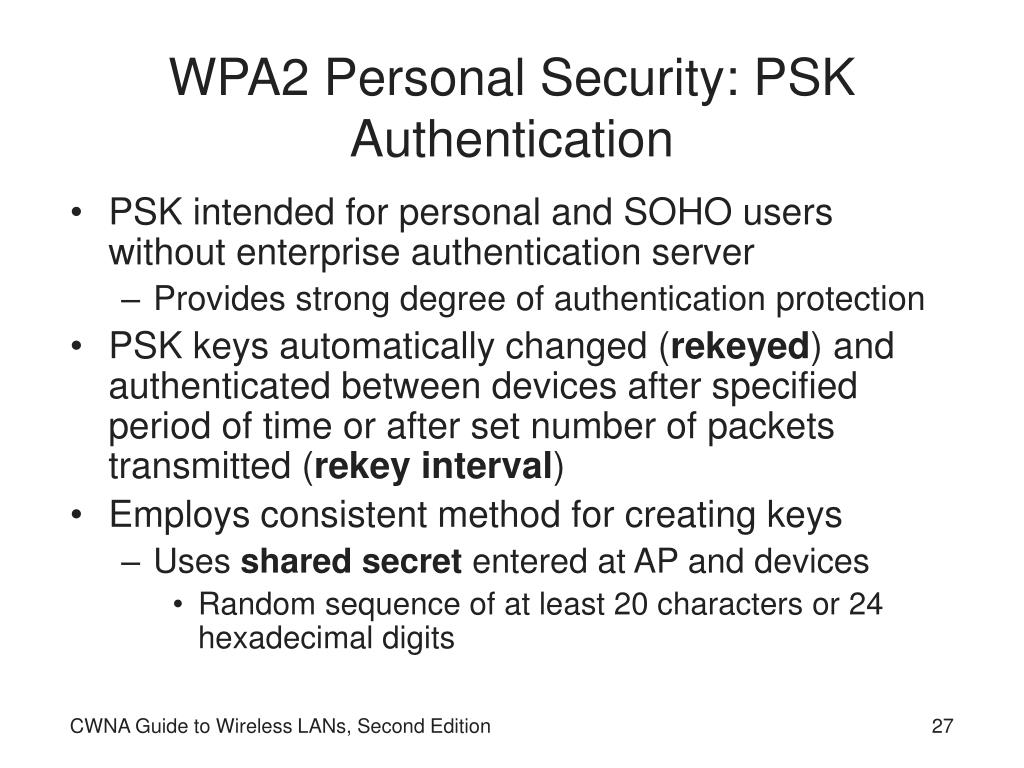 WPA2 Personal Security: PSK Authentication