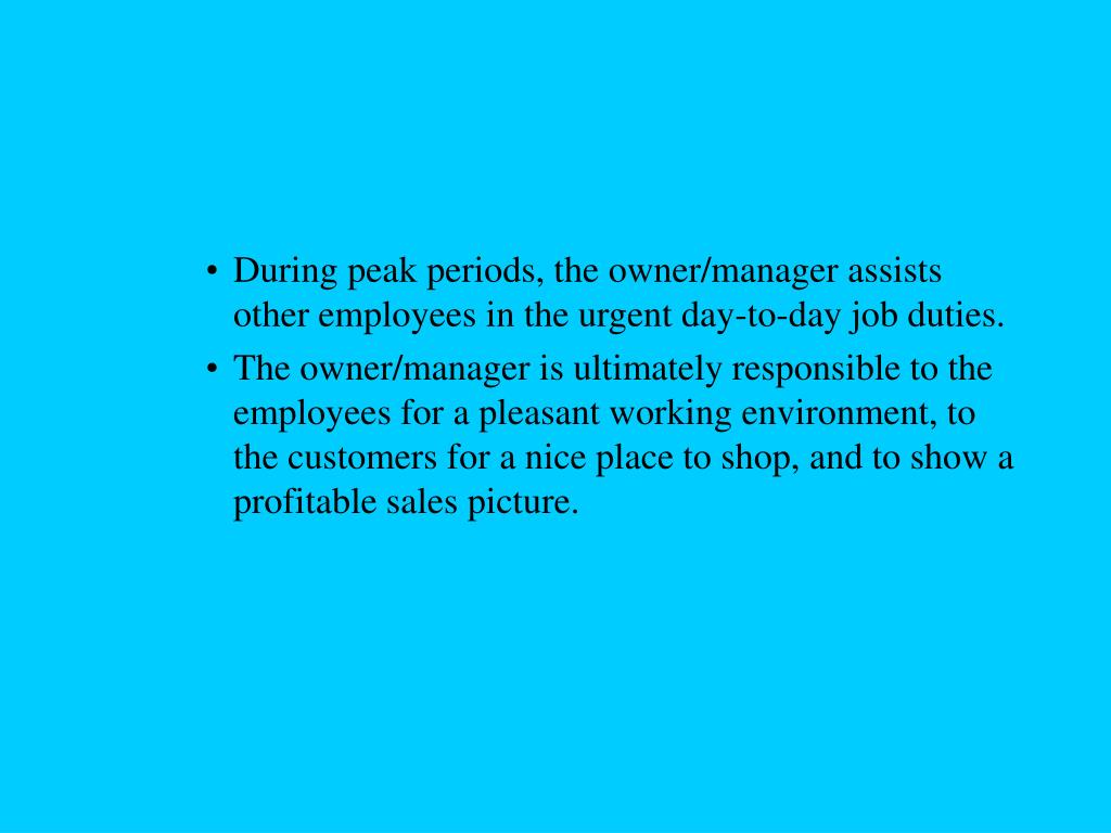 During peak periods, the owner/manager assists other employees in the urgent day-to-day job duties.