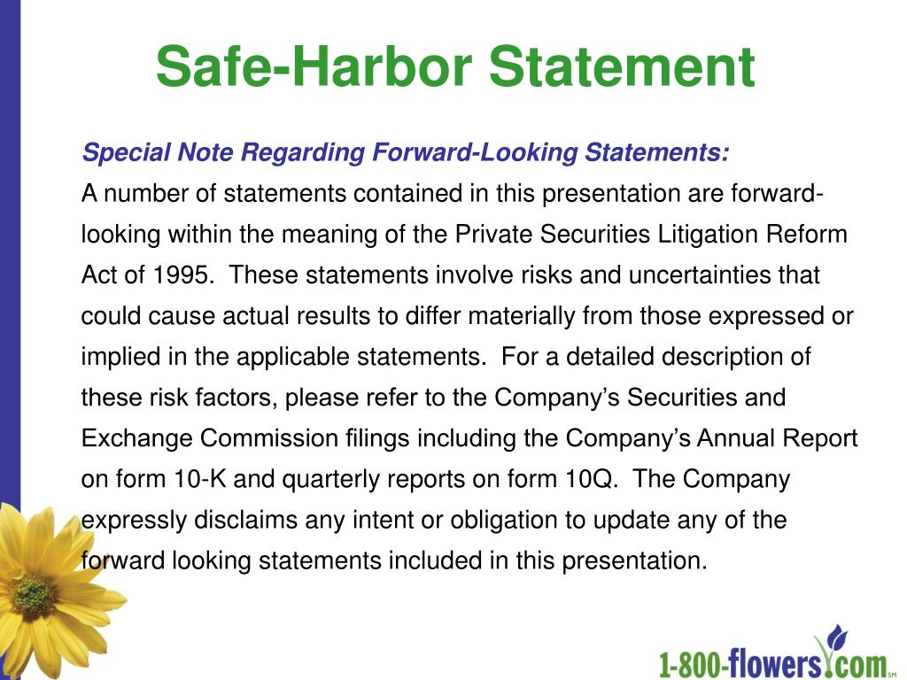Safe-Harbor Statement