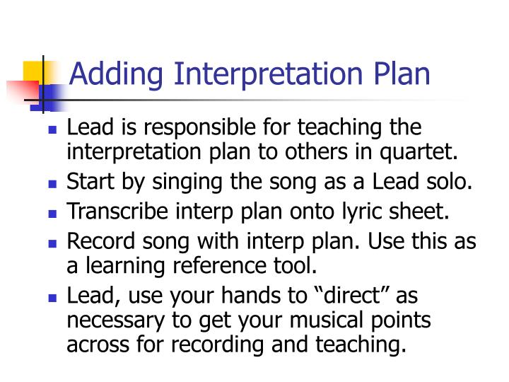Adding Interpretation Plan
