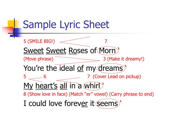 Sample Lyric Sheet