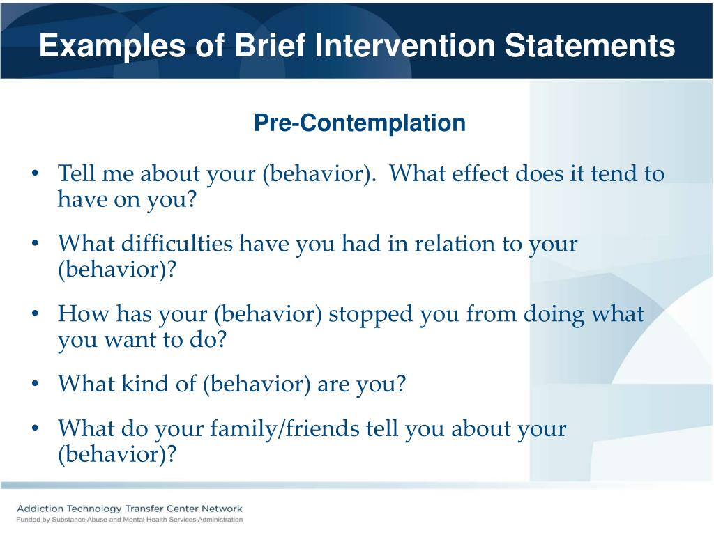 Examples of Brief Intervention Statements