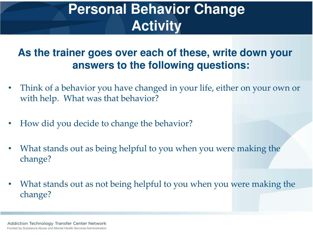 Personal Behavior Change