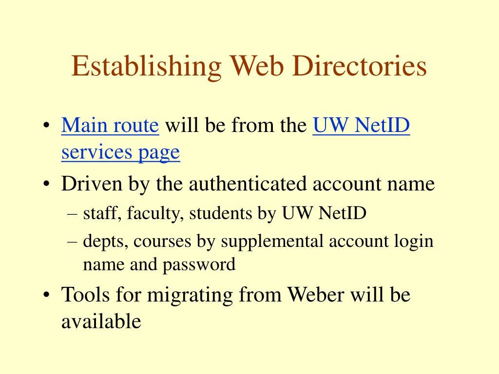 Establishing Web Directories