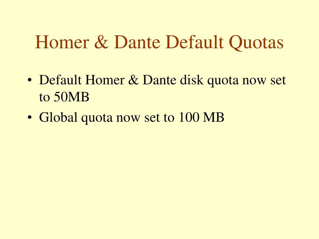 Homer & Dante Default Quotas