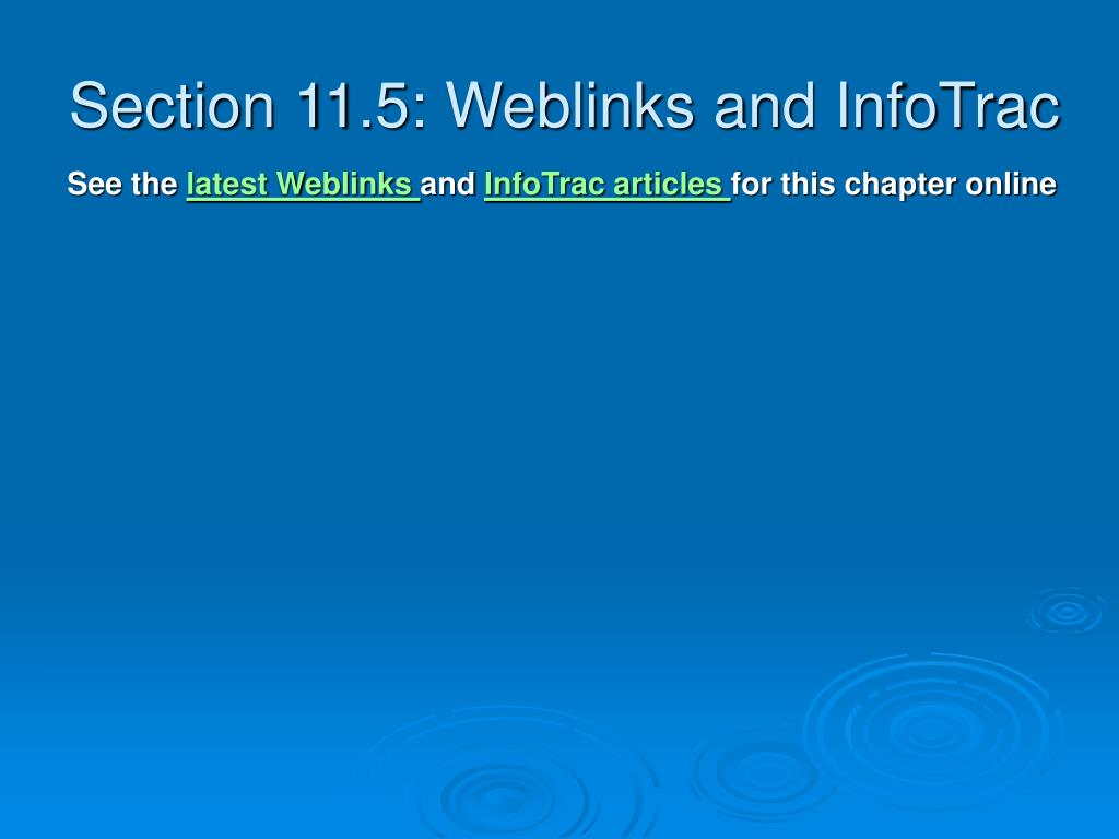 Section 11.5: Weblinks and InfoTrac