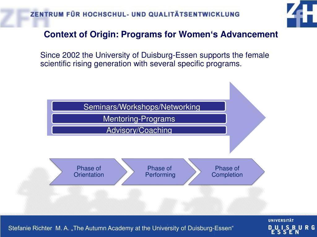 Context of Origin: Programs for Women's Advancement