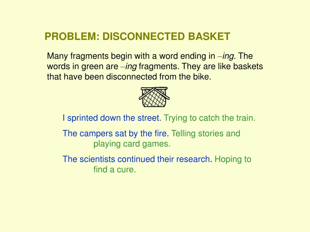 PROBLEM: DISCONNECTED BASKET