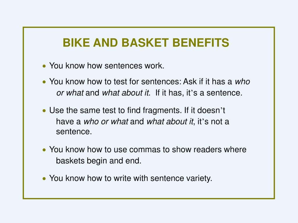 BIKE AND BASKET BENEFITS