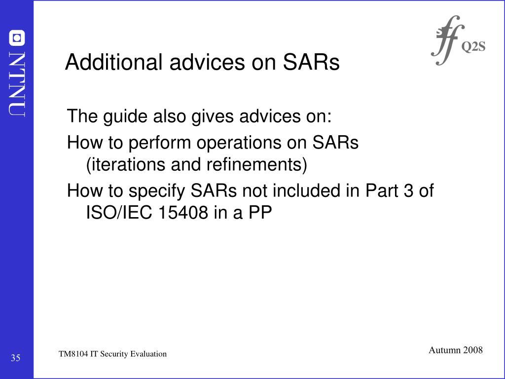 Additional advices on SARs