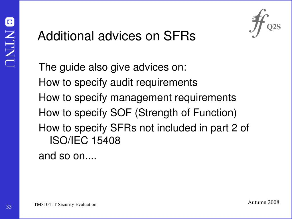 Additional advices on SFRs