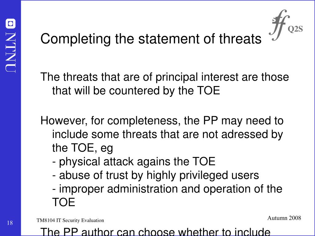 Completing the statement of threats