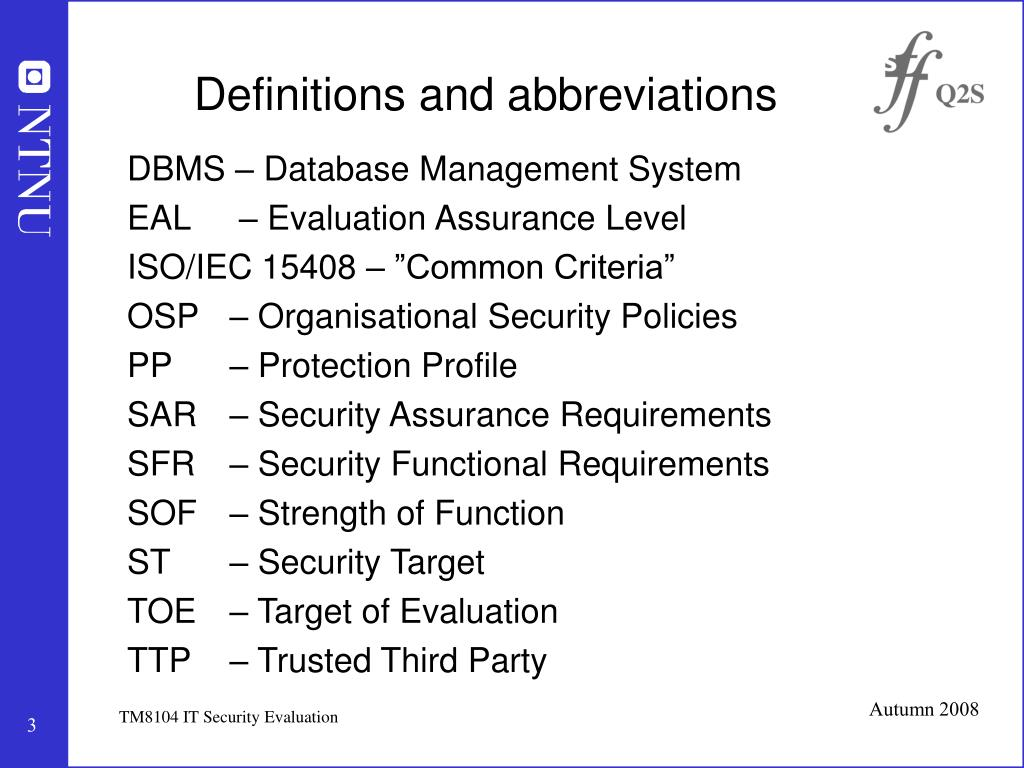 Definitions and abbreviations