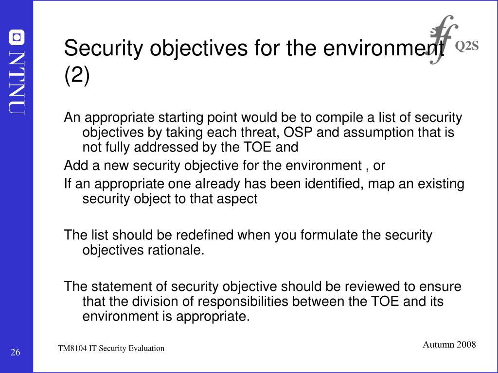 Security objectives for the environment (2)