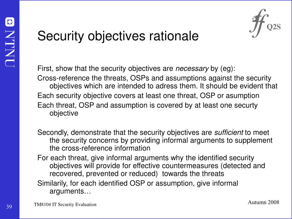 Security objectives rationale