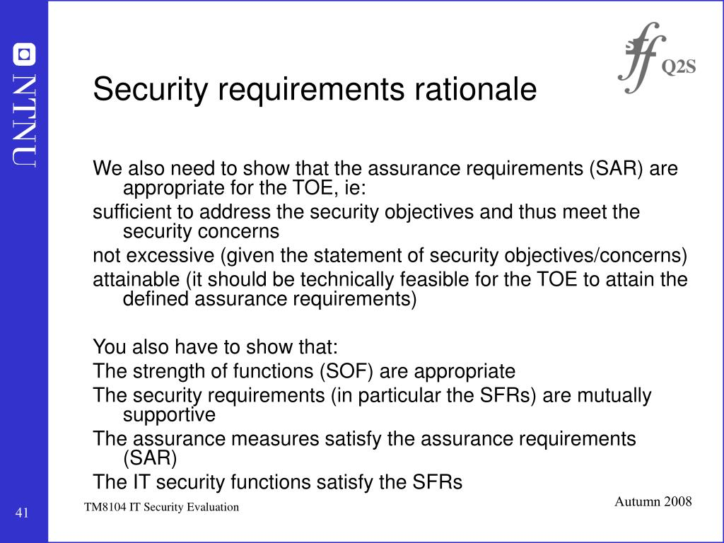 Security requirements rationale