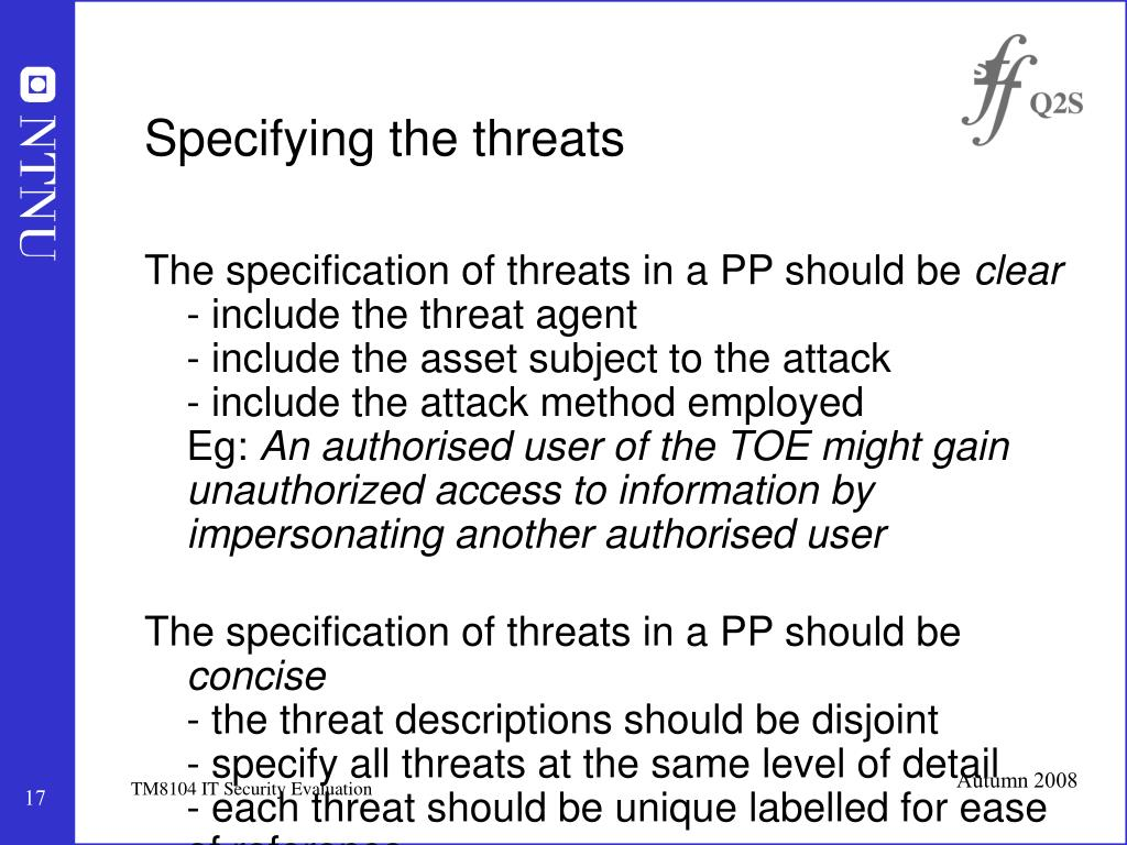 Specifying the threats