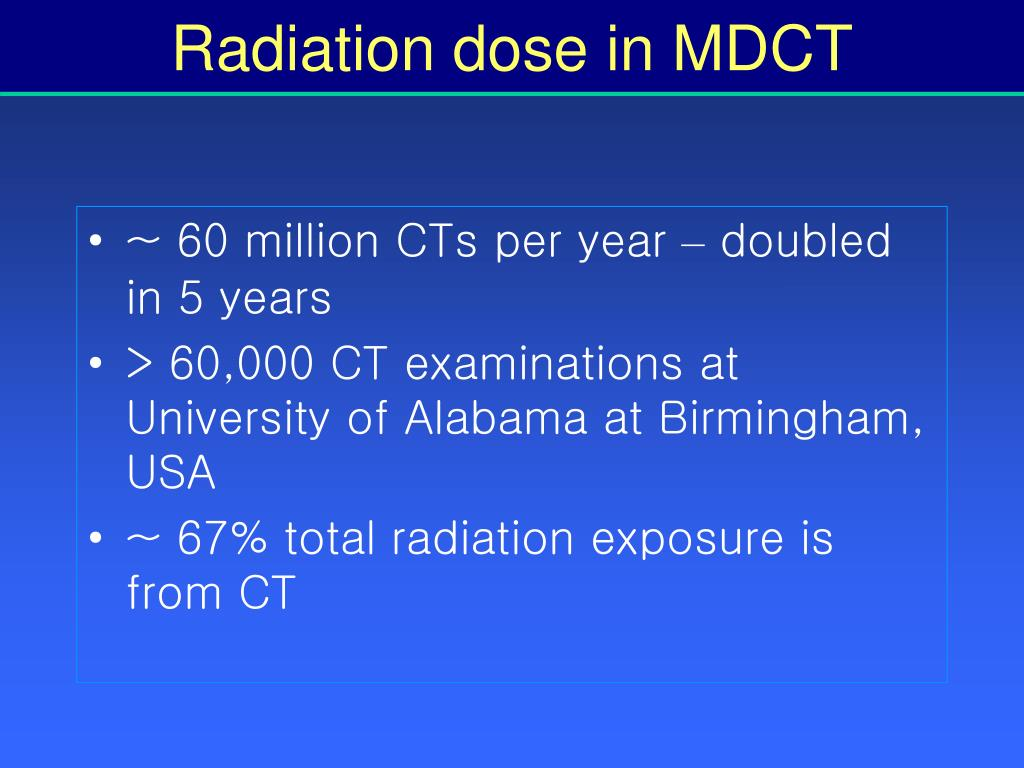 Radiation dose in MDCT